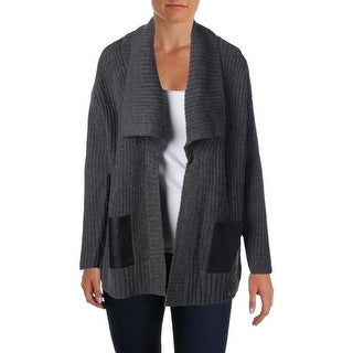 MICHAEL Michael Kors Womens Wool Blend Faux Leather Trim Cardigan Sweater