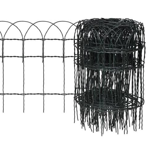 "vidaXL Garden Border Fence Powder-coated Iron 984.3""x15.7"""