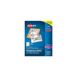 Avery AV27901 Shipping Labels with Paper Receipt Bulk Pack & Laser/Inkjet Print Technology