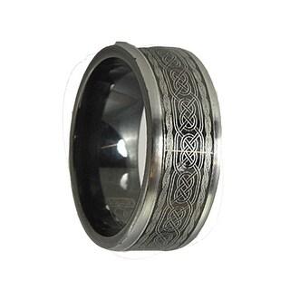 DEMITRI Torque Black Cobalt Wedding Band Polished Laser Celtic Center Design Black Inside by Crown Ring - 9 mm (Option: 15.5)