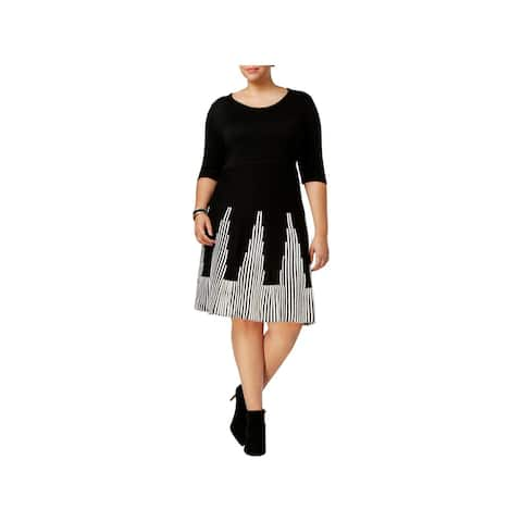 NY Collection Womens Plus Sweaterdress Fit & Flare Knee-Length