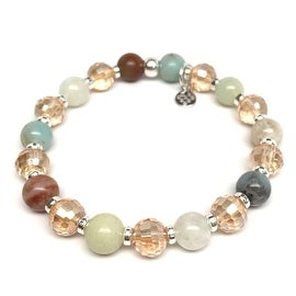 Green Amazonite 'Layla' Stretch Bracelet, Crystal & Sterling Silver