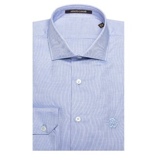 Roberto Cavalli Men's Spread Collar Checkered Cotton Dress Shirt Light Blue