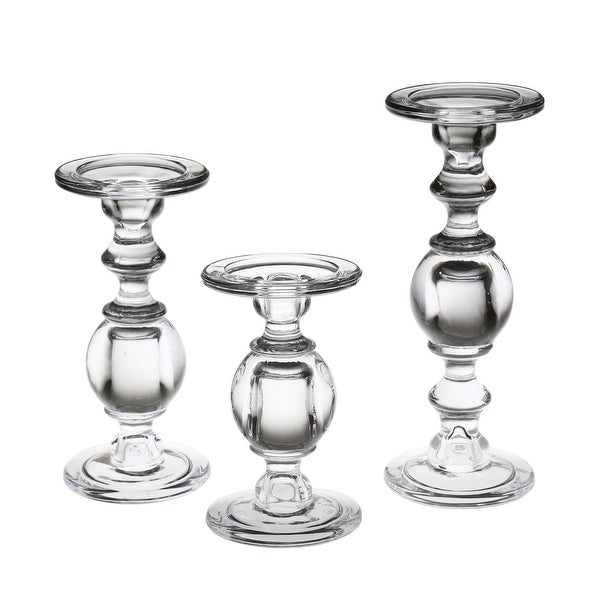 """Glass Pillar Candle Holders - Set of 3 Clear Solid Glass Baluster Candleholders for 3"""" Pillar Candles - Stands 7""""H to 11""""H. Opens flyout."""