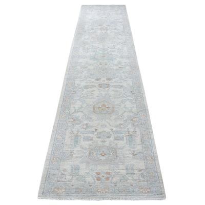"""Shahbanu Rugs White Peshawar Organic Wool Hand Knotted Runner Oriental Rug (2'7"""" x 12'0"""") - 2'7"""" x 12'0"""""""