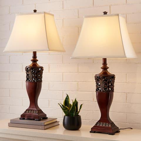 "30""H Bedside Table Lamp Set of 2, Wood Finish - 30''H"