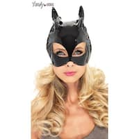Vinyl Cat Woman Costume Mask - Black - One Size Fits most