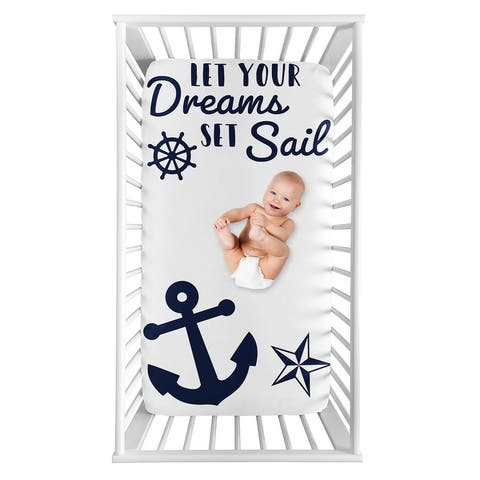Navy Blue White Anchors Boy Girl Photo Op Fitted Crib Sheet - Nautical Ocean Sailboat Sea Sailor Anchor Unisex Gender Neutral