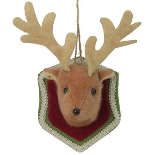 "Link to 7.5"" Brown and Red Stuffed Deer Head Plaque Christmas Ornament Similar Items in Christmas Decorations"