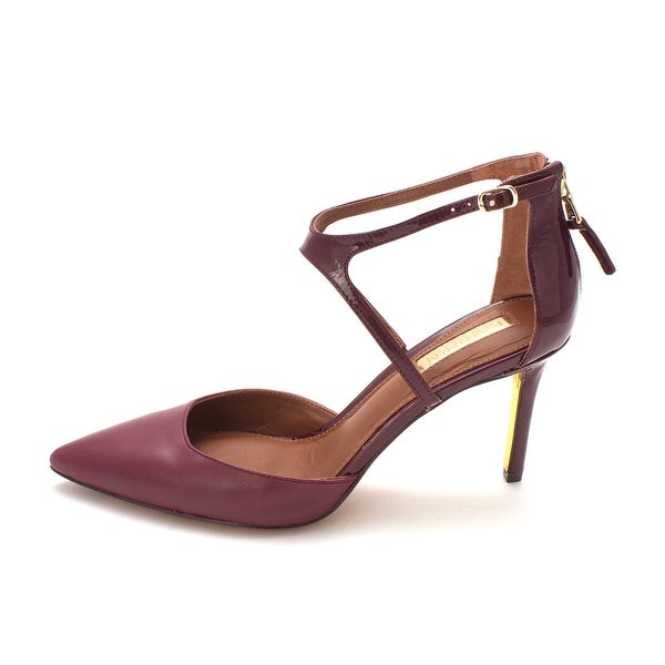 LAUREN by Ralph Lauren Womens Kabira Leather Pointed Toe Ankle Strap Classic ...
