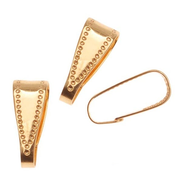 22K Gold Plated Snap Bail For Jewelry Large 10mm (50 Pieces)