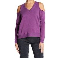 Alternative Purple Womens Size Large L Cold-Shoulder V-Neck Sweater
