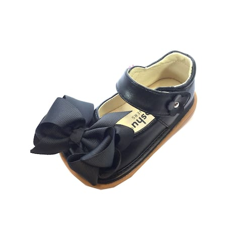 Mooshu Trainers Little Girls Black Squeaky Cute Bow Mary Jane Shoes