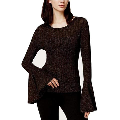 Bar III Women's Metallic Bell-Sleeve Top, Black (S)