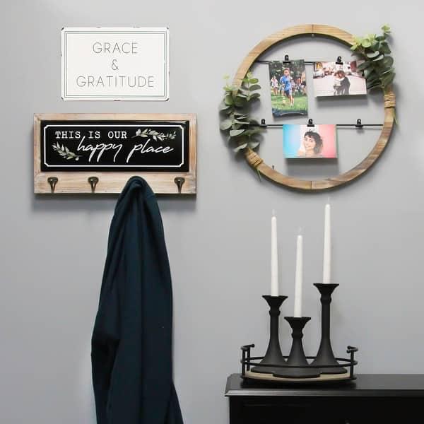 Shop Stratton Home Decor Grace Gratitude Metal Wall Art White Green On Sale Overstock 30594237