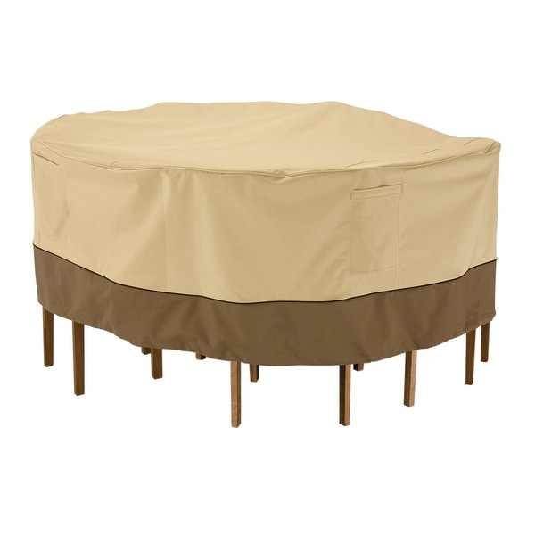 Classic Accessories Veranda Water-Resistant 82 Inch Round Patio Table & Chair Set Cover. Opens flyout.