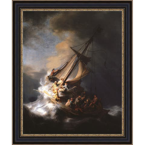 """The Storm on the Sea of Galilee by Rembrandt Harmenszoon van Rij Giclee Print Oil Painting Black Frame Size 15"""" x 18"""""""