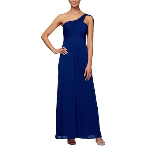 Alex Evenings Womens Evening Dress Pleated One Shoulder