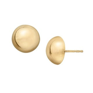 Just Gold 10 mm Simplistic Dome Stud Earrings in 14K Gold - YELLOW