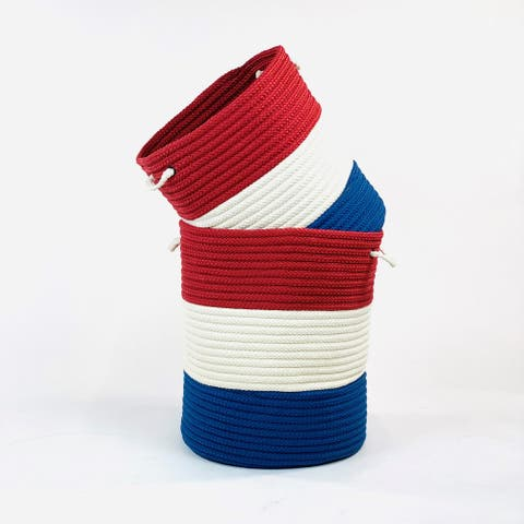 Red/White/Blue America Woven Hamper Basket for Patriotic Indoor/Outdoor Use