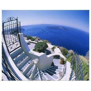 """""""High angle view of steps, Santorini, Greece"""" Poster Print"""