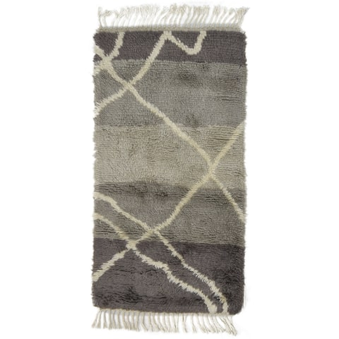 "One of a Kind Hand-Knotted Shag 3' x 5' Geometric Wool Grey Rug - 2'8""x5'4"""