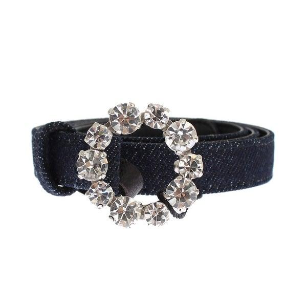 Dolce & Gabbana Blue Denim Leather Crystal Buckle Belt - 65-cm-26-inches