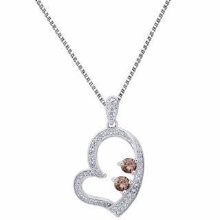 Sterling Silver Forever Us Pendant 2 Solitaire Brown 0.25 Carat CZ Charm Chain