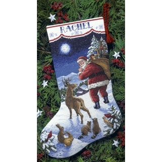 """Santa's Arrival Stocking Counted Cross Stitch Kit-16"""" Long 14 Count"""