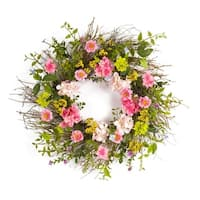 Pack of 2 Cottage Style Green and Pink Artificial Hydrangea and Berry Wreaths 26""