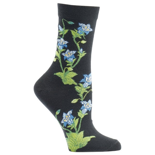 Women's Witches' Garden and Apothecary Floral Socks - Cotton - Gentian