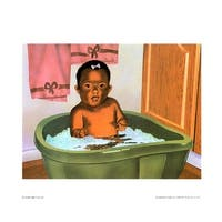 ''Bath Time Girl'' by Stanley Morgan African American Art Print (8 x 10 in.)