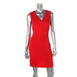 DKNY Womens Sleeveless V-Neck Cocktail Dress