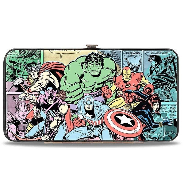 Marvel Comics 6 Retro Avengers Group2 Pose + Comic Scene Blocks Multi Hinge Wallet One Size - One Size Fits most