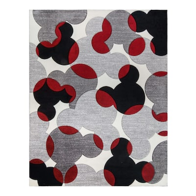 """MM Bravo Toss White Red Area Rug (5'3"""" x 7') by Gertmenian"""