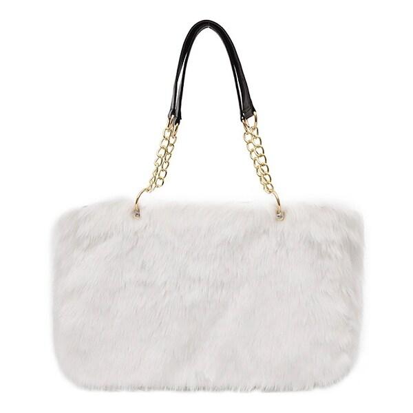 QZUnique Women  x27 s Faux Fur Handbag Large Capacity Plush Tote Shoulder  Bag Zipper c6c4e6edb2f76