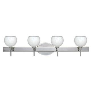 Besa Lighting 4SW-565819 Palla 4 Light Reversible Halogen Bathroom Vanity Light with Carrera Glass Shades