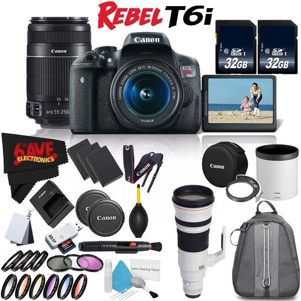 Canon Rebel T6i DSLR Camera w/ 18-55mm Lens International Version (No Warranty) + Canon EF-S 55-250mm Lens + Accessories Bundle