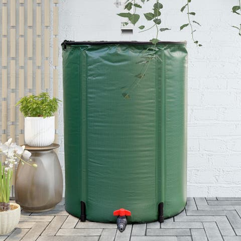 Gymax 60 Gallon Portable Rain Barrel Water Collector Collapsible Tank Spigot Filter