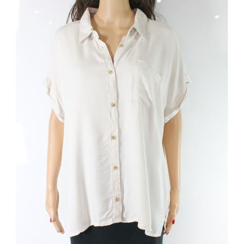 Thread And Supply Womens Top White Ivory Size Large L Button Down