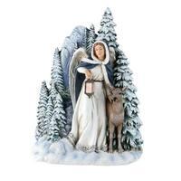"7"" Joseph Studio Angel with Deer Winter Scene Table Top Decoration - Blue"