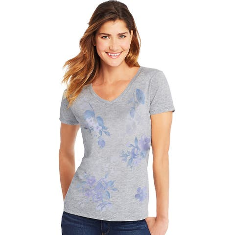 Hanes Women's Floral Message Short-Sleeve V-Neck Graphic Tee - Color - Placed Floral Message/Light Steel - Size - XL