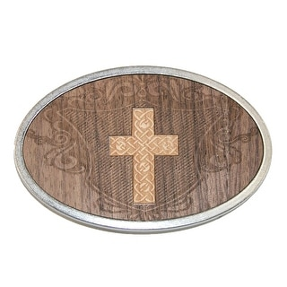 Buckle Down Carved Cross Belt Buckle - Brown - One Size