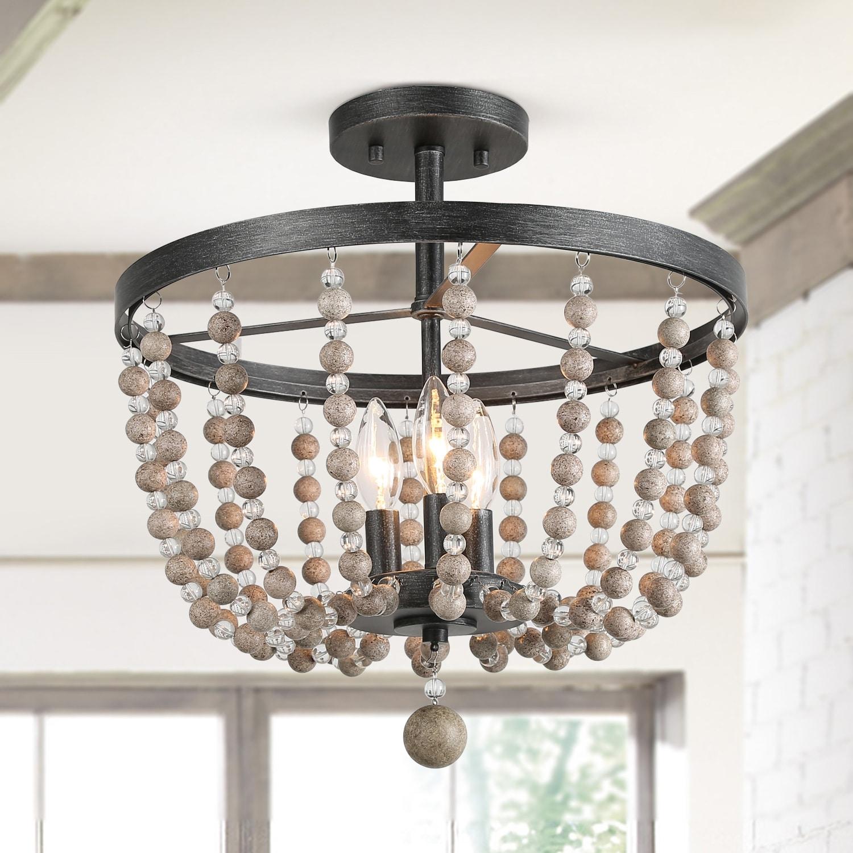 Shop Black Friday Deals On Lnc Bohemian 3 Light Flush Mounts Distressed Wood Beads Ceiling Lights W16 X H17 W16 X H17 Overstock 24100087 Wood
