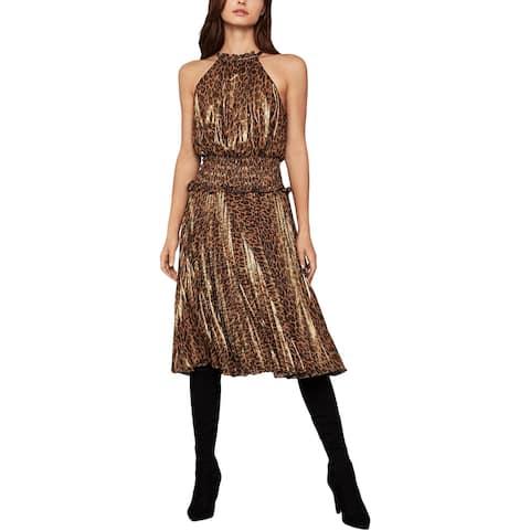 BCBGMAXAZRIA Womens Metallic Animal Print Midi Dress - Bronze - Leopard Skin