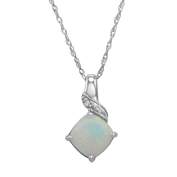 Amanda Rose Sterling Silver Created Opal and Diamond Pendant-Necklace on an 18 inch Chain