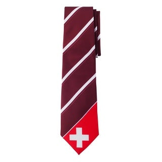 Jacob Alexander Switzerland Country Flag Colors Men's Necktie - Burgundy Diagonal with Swiss Cross Design