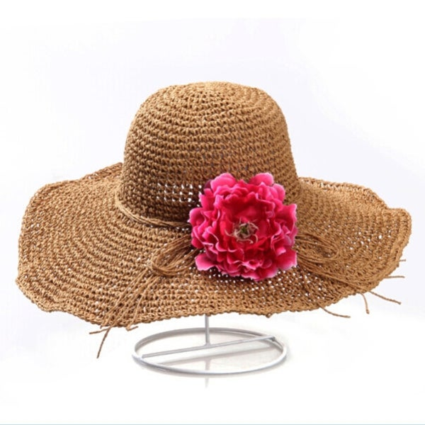 Fashion Women/'s Wide Large Brim Floppy Straw Cap Summer Beach Sun Hat Big Bow