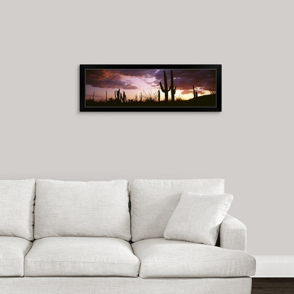 """Silhouette of saguaro cactus at sunset, Organ Pipe Cactus National Monument, Arizona"" Black Framed Print"