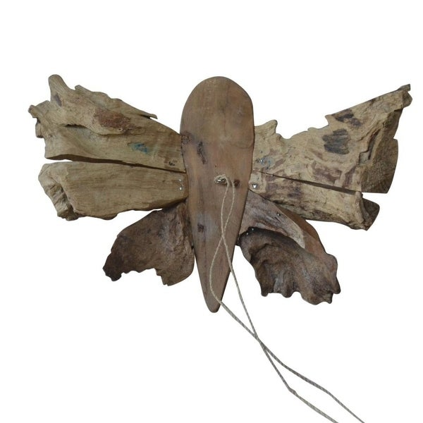 "11.75"" Natural Brown Contemporary Teak Butterfly Decor - N/A"